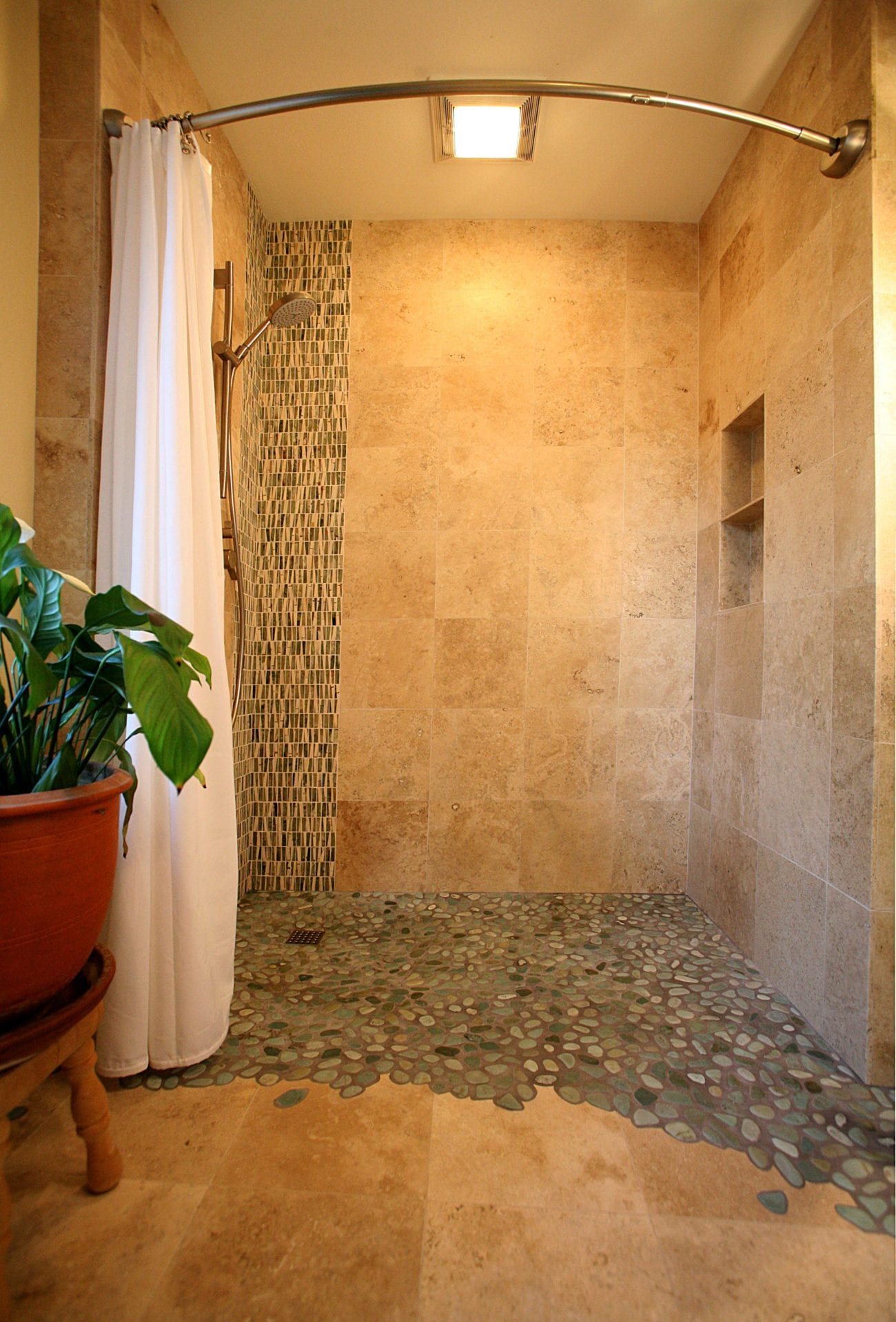 Home · Photo Album; Curbless Shower With Scribed Pebbles