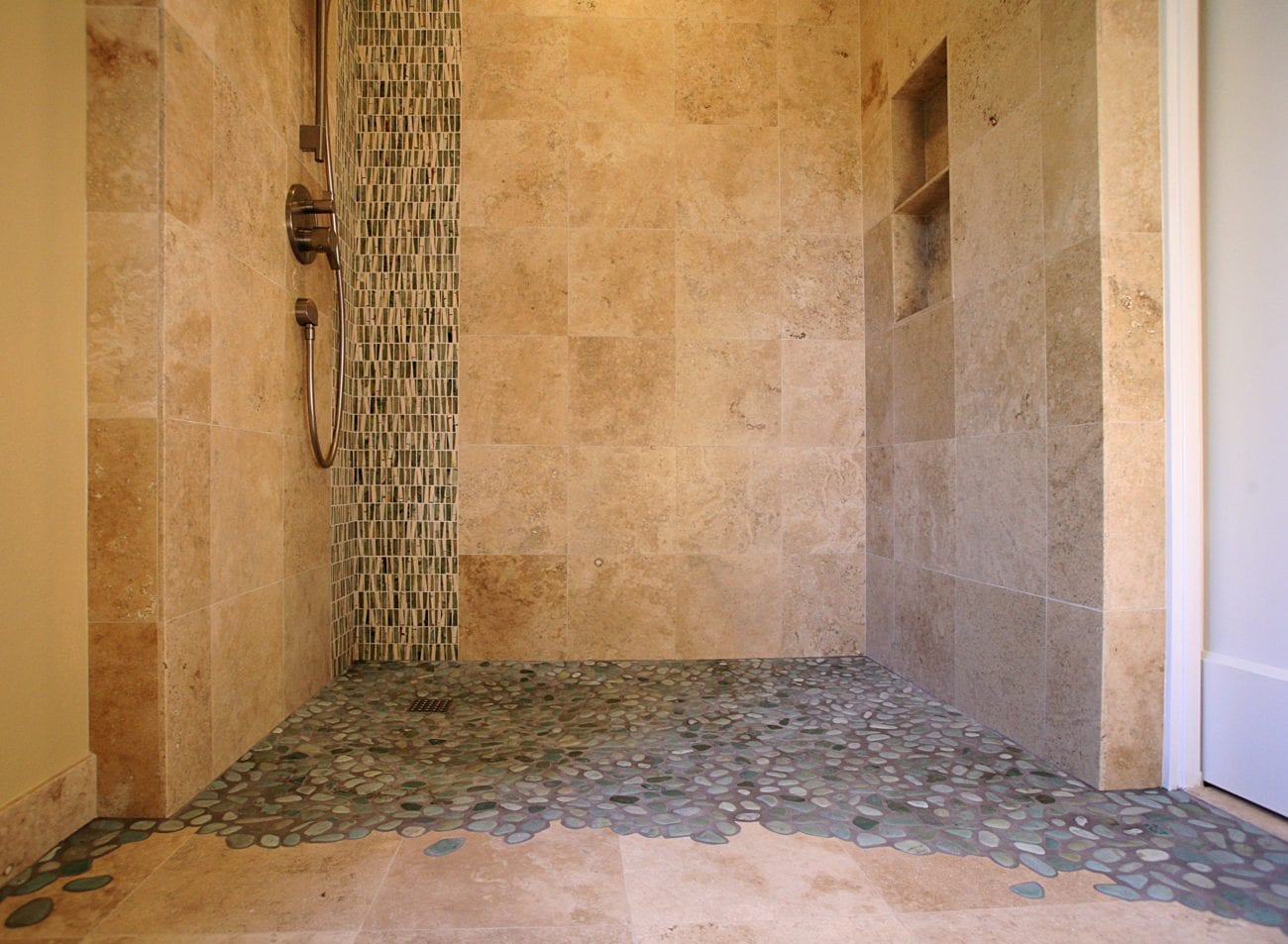 Hawthorne Tile Curbless Shower With Scribed Pebbles